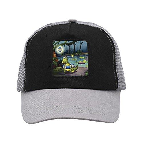 (Ringkyo Trucker Hat Cartoon Alligators Adjustable Gray Cap)