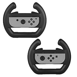 Nintendo Switch Joy-Con Wheel, (2 packs) BASSTOP Nintendo Switch Controller Joy-Con Grip Steering Wheel (Black)