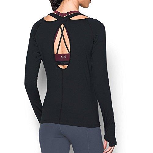 Under Armour Women's Swing Keyhole Long Sleeve, Black/Gray Area, X-Small