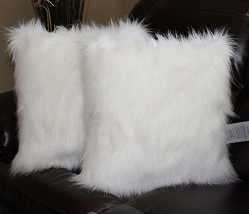 Faux Fur Pillow Cover Arctic Fox White 18 X 18 in - Set of 2 (Fox Arctic White)