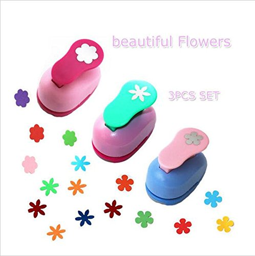 CADY Hole Puncher 1 Inch paper punch,-- (3 PACK Combination of flowers -- Personalized Paper Craft Punchers Shapes Set -- For Scrapbook Engraving Kids Artwork -- Greeting Card Making DIY Crafts by CADY
