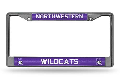 NCAA Northwestern Wildcats Bling Chrome License Plate Frame with Glitter Accent