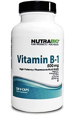 NutraBio Vitamin B-1 Thiamin (500mg) - 120 Vegetable Capsules