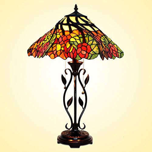 (Eif Table Lamp Tiffany Style Living Room Bedroom Bedside Table Lamp Stained Glass Lamp Bar Lamps Retro Zinc Alloy Base European Club Commercial Decoration Lamp E27x2(Without Light Bulb),220V)