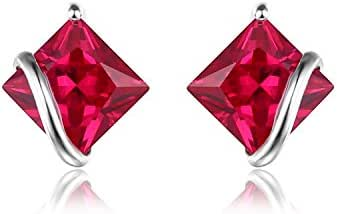 JewelryPalace Women's Classic Square 2.8ct Created Red Ruby Stud Earrings 925 Sterling Silver