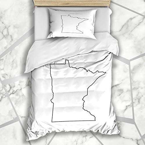 Ahawoso Duvet Cover Sets Twin 68X86 Region Outline Map Us State Minnesota Raster Black Abstract America American Area Design Microfiber Bedding with 1 Pillow Shams ()
