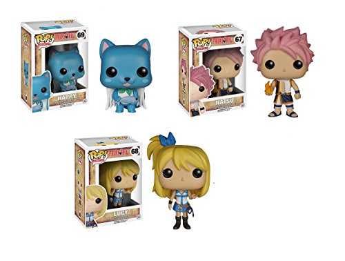 Fairy Tail Lucy, Natsu and Happy Pop! Vinyl Figures Set of 3