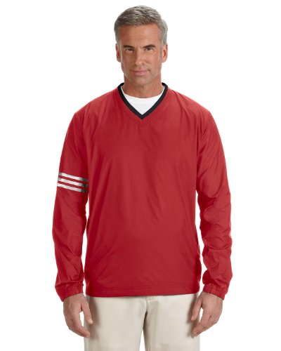 adidas Men's ClimaLite Color Block V-Neck Wind Shirt, Power Red/Black, XX-Large