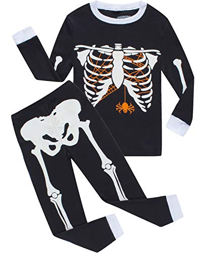 Boys Halloween Pajamas Skeleton-Glow-in-The-Dark Toddler Pjs Kids Clothes Shirts Size 4T