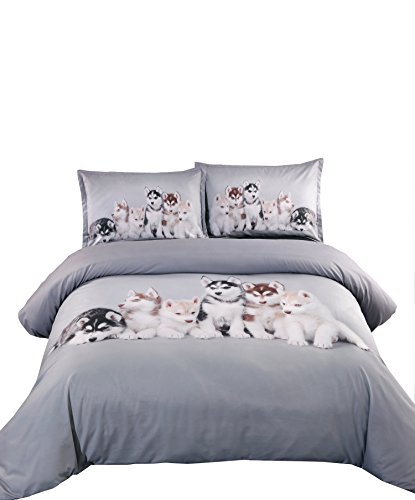 Ammybeddings 5PCS Soft Comforter Sets Twin Size,Modern Luxury Bedroom Decor Siberian Huskies Print Duvet Cover with 1 Bed Sheet,1 White Down Comforter and 2 Pillow Shams,Twin Size