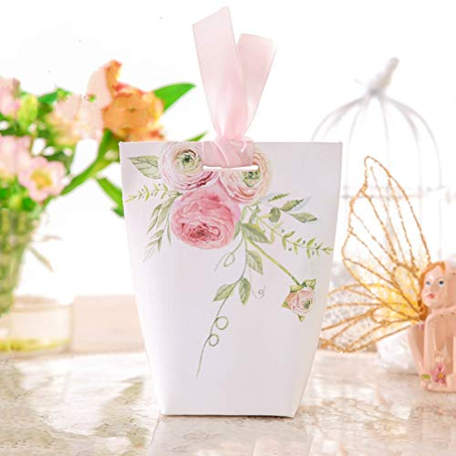 MEIZOKEN 50pcs Creative Pink Flower Candy Box Wedding Favors Anniversary Party Supplies Thanks Gift Box