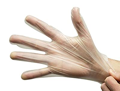 Disposable Clear Poly Hybrid Stretch Gloves, Copolymer Polyethylene PE Blend, Plastic, Powder-Free, Latex and Allergy Free, Food Service, Work, Cooking and Cleaning