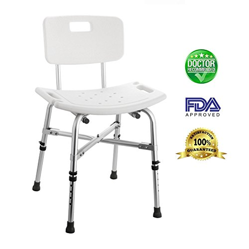 Vividy Height Adjustable Sturdy Aluminium Bath and Shower Stool Seat Non-Slip Bathroom Aid Chair with Removable Backrest, 330 pounds Weigh Capacity (US Stock) (27.7-32.4inch) by Vividy