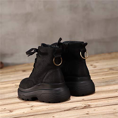 éclair Nubuck Femme Plateforme Noir Cuir Western à Fermeture Bas à Talon Martin Lacets à Vintage pour Chaussures en Bottes Bottines qSZAff