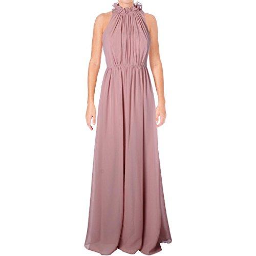 Vera Wang Womens Chiffon Gathered Evening Dress Pink 10 -