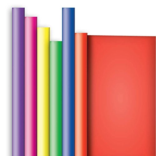 Jillson Roberts Solid Color Recycled Gift Wrap, Purple/Red/Magenta/Yellow/Green/Royal, 6-Roll (Solid Color Gift Wrap)