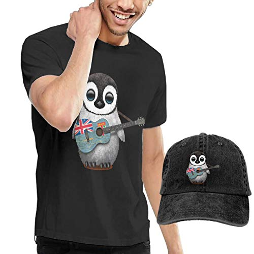 Men's Short Sleeved T-Shirt Penguin Playing Fiji Flag Guitar Cowboy Hat, Leisure Sports Tee M Black ()