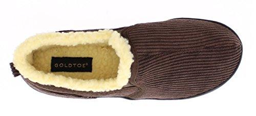 Gold Toe Para Hombre Gordon Memory Foam Corduroy Slippers Sherpa Fleece Forrado Zapatos De Casa Casual Slip On Loafer Chocolate 13 Us