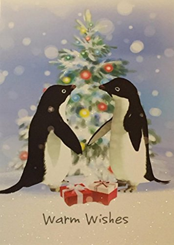 Holiday Boxed Christmas Cards Set of 14 - Variety to Choose From (Warm Wishes Penguins)