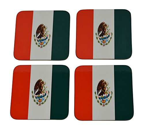 Mexico Flag Drink Coaster Set Gift For Mexican or Hispanic Heritage Home Kitchen Bar Barware