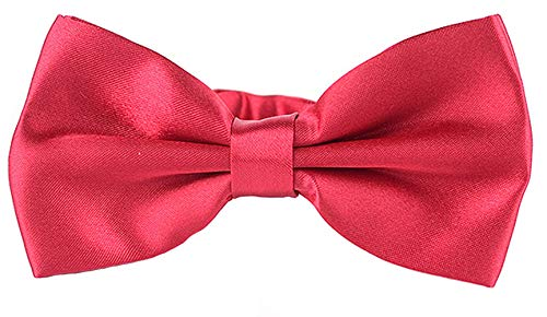 (Taishenyuan Mens Classic Pre-Tied Satin Formal Tuxedo Bowtie Adjustable Length Large Many Colors Available (Jujube red))