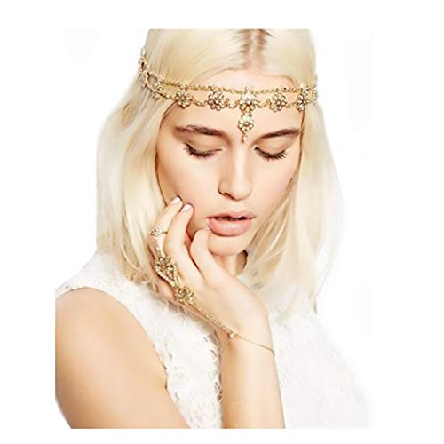Campsis Gold Vintage Head Chain Floral Pendant Headpiece Boho Fashion Indian Chains Hair Jewelry for Women and Girls (Best Perfume For Indian Bride)
