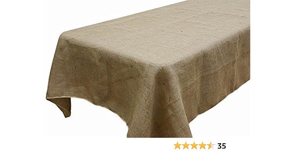 "60/""x60/"" Deluxe Burlap Natural Tan Table Cloth"