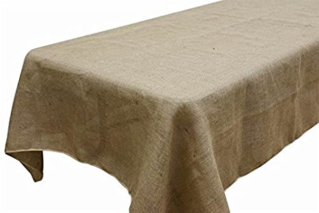 AK TRADING Rectangle Rustic Burlap Tablecloth, 60u0026quot; X 120u0026quot;, Natural