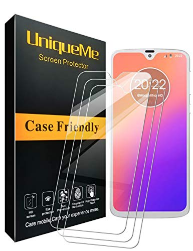 [3 Pack] UniqueMe Compatible with Motorola Moto G7 / Moto G7 Plus Screen Protector,[Japan Tempered Glass] 9H Hardness with Lifetime Replacement Warranty