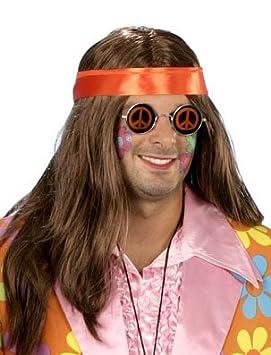 Hippie Brian peluca - Marrón con bufanda naranja - Hombre ...
