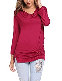 Meaneor Women Dolman Sleeve Drape Tunic Top Cowl Neck Casual Shirt Shrring