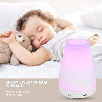 Upgrade Essential Oil Diffuser, GREEN JUNGLE 7 Color LED lights 100 mL Ultrasonic Portable Aromatherapy Cool Mist Humidifier Premium Quality Compact Design Auto Shut-off for Home Office Baby