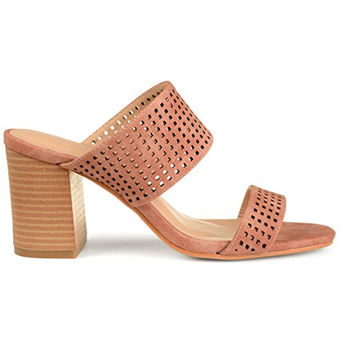 Brinley Co. Womens Santos Faux Leather Laser-Cut Dual-Strap Heeled Mules Rust, 8.5 Regular US ()