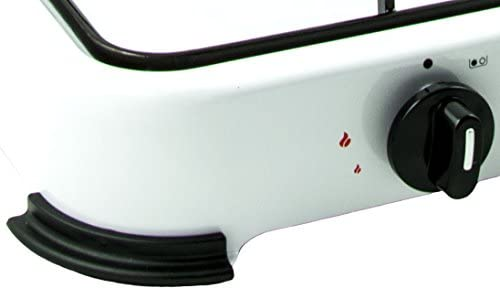 Hornillo de gas, 2 quemadores, 2,6 KW con tapa, incluye juego de regulador y latiguillo, 150 cm, 50 mbar