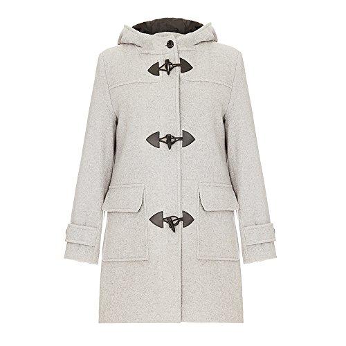 De La Creme Women`s Wool & Cashmere Winter Hooded Duffle Coat Silver Grey Size 12 (Wool Duffle Coat Women)