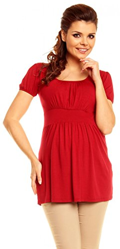 Zeta Ville - Women's Maternity Empire Waist Ruched Neck Stretch Top 10-18 - 408c (Crimson, US 12, XL) (Maternity Waist Empire Jersey)