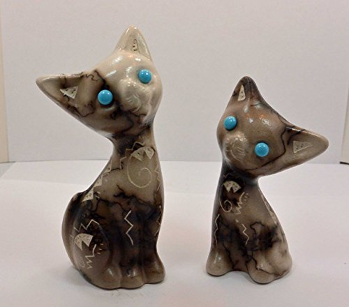 All Tribe Silver Native American Navajo Pottery Horse Hair Cat Set by Vail ()