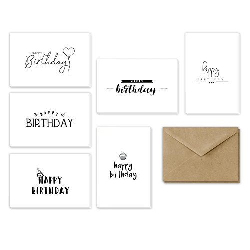 Happy Birthday Greeting Cards, Birthday Cards, Handwritten Birthday Cards Assortment, 4x6 Inches Assorted Variety Birthday Cards Set, Brown Kraft Paper Envelopes Included - 36 Pack
