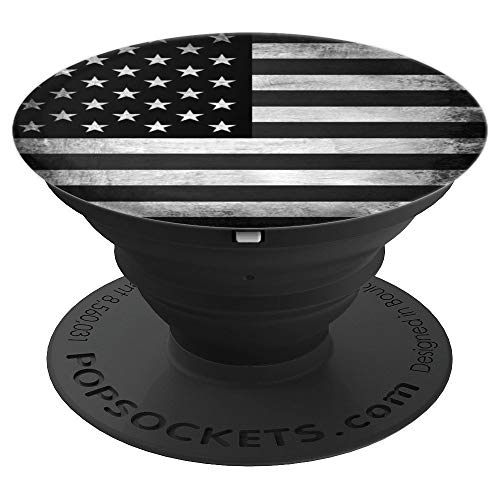 US American Flag Black And White USA Patriotic Holder Knob - PopSockets Grip and Stand for Phones and Tablets