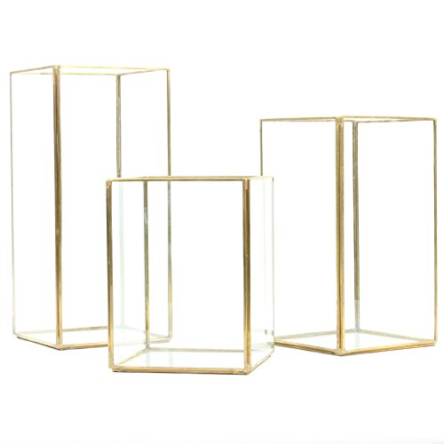 Koyal Wholesale Geometric Hurricane Candle Holder Set of 3 for Wedding Centerpiece, Table Decorations, Home Decor, Patio Decor (Gold) (Centerpieces Lantern Gold)