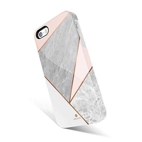 Akna Geometric Pattern Case for iPhone SE 5S 5, Hard Silicon Cover Compatible iPhone 5s/SE/5 (1245-U.S)
