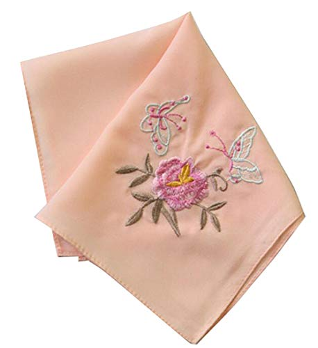 Embroidery Handkerchiefs Chinese (Set of 2 Chinese Style Ladies/Women's Embroidered Handkerchiefs, Pattern-2)