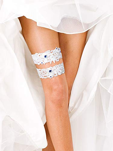 2 Pieces Wedding Bridal Garters White Lace Garters Floral Garters with Blue Rhinestone for Wedding Party