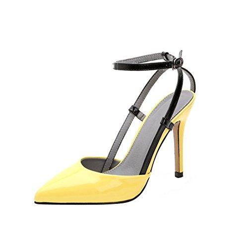 Boucle Verni HooH Escarpin Femmes Sandale Jaune Cheville Cuir gxg4qt
