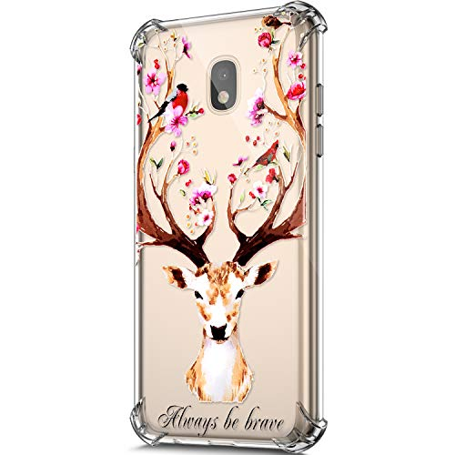 Price comparison product image ikasus Case for Galaxy J530 J5 Pro (2017) Cover, Clear Embossed Art Painted Pattern Design Soft & Flexible TPU Ultra-Thin Shockproof Transparent Girls Women TPU Silicone Case Cover, Flower Deer