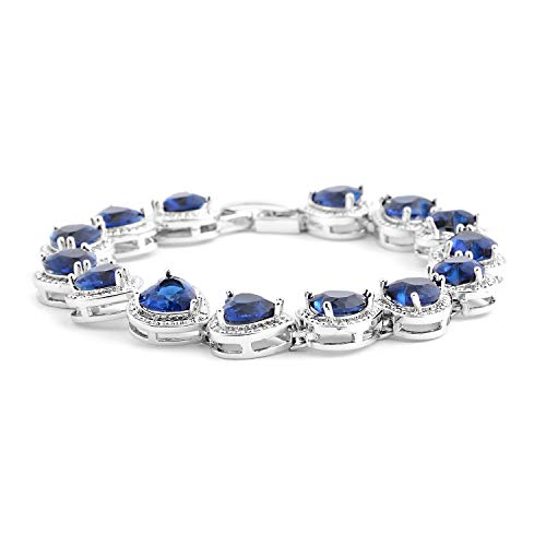 Shop LC Delivering Joy Blue Cubic Zircon CZ Heart Love Valentines Bridal Tennis Bracelet for Women 7