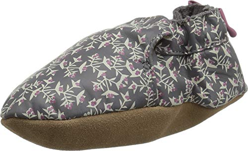 Robeez Girls' Soft Soles with Bow Back Crib Shoe, Berry Beautiful Grey, 0-6 Months M US Infant