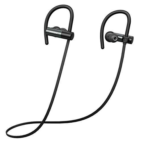 Mpow D4 Bluetooth Headphones, IPX6 Waterproof Wireless Sports Earphones w/Mic, HD Sound Secure Fit Lightweight Earbuds for Running, Jogging, Cycling, 8 Hour Playtime Noise Cancelling Headset