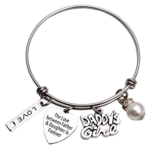 LParkin Daddys Girl Daughter Bracelet Stainless Steel Bangle Birthday Gift for Daughter Gift