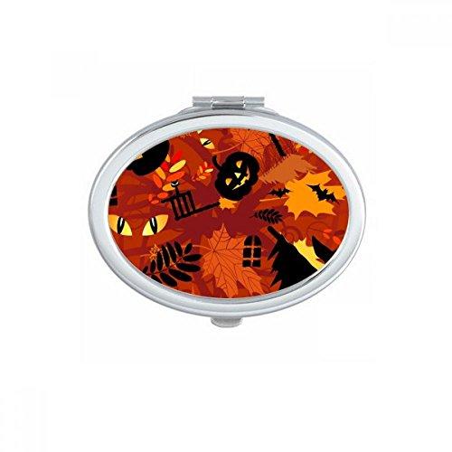 DIYthinker Cartoon Deep Forest Halloween Oval Compact Makeup Pocket Mirror Portable Cute Small Hand Mirrors Gift
